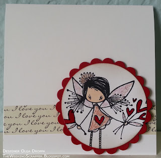 Handmade valentine card using Ketto stamp with Stickles and liquid pearls