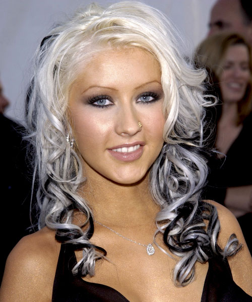 christina aguilera hair black and white