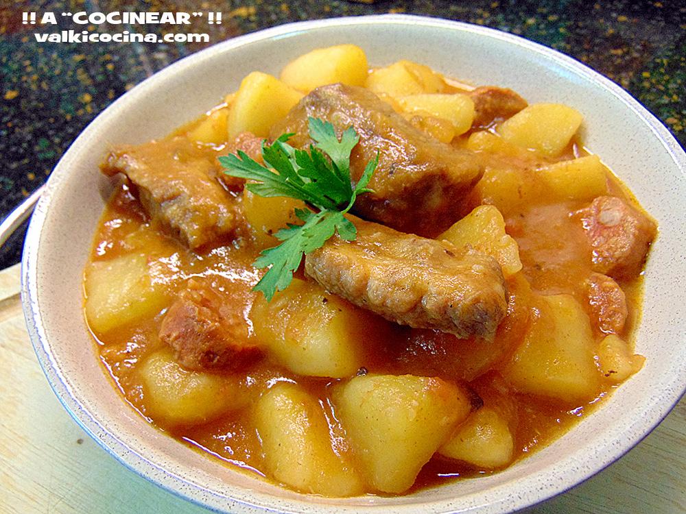Guiso de patatas con costillas de cerdo y chorizo olla r pida a cocinear recetas - Lentejas con costillas y patatas ...