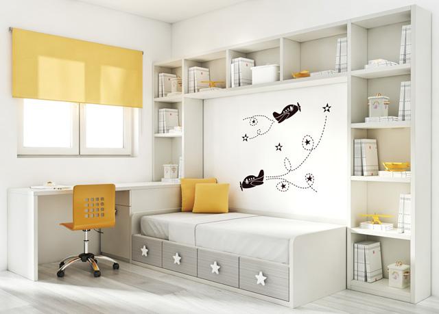 Dormitorios juveniles con estanteria puente for Mobiliario dormitorio infantil
