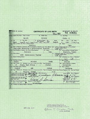 birth certificate whitehouse President Obama Releases Copy of Long Form Birth Certificate, What Now?