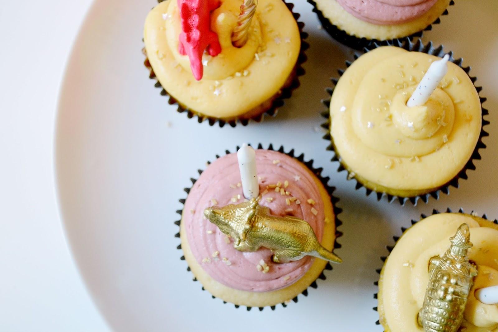 apricot, blackberry, cake, cupcake, gold, dinosaur, glitter, neon pink