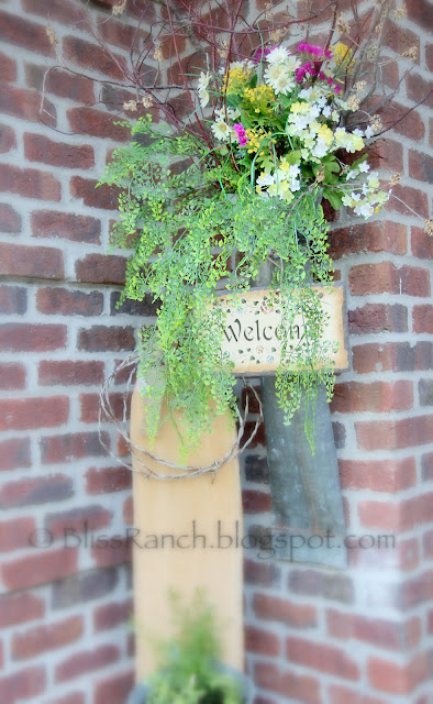 Old Metal Junk Becomes Porch Flower Vase Bliss-Ranch.com