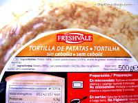 Ingredientes de la tortilla de patatas sin cebolla Freshvale de Lidl.