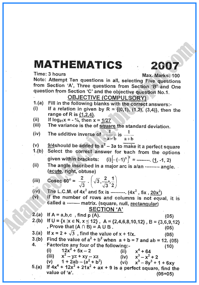 mathematics-2007-past-year-paper-class-x