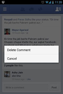 How to Delete unwanted Facebook comments from Android?