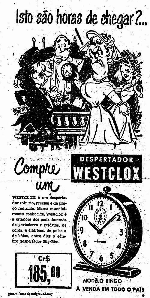 Propaganda do despertador Westclox, nos anos 50. Modelo clássico de despertadores.
