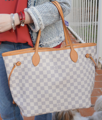 Louis Vuitton MM damier Azur neverful with silver bracelets