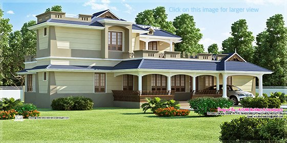 Luxury sloping roof 5 bedroom villa exterior kerala home for Villa exterior design ideas