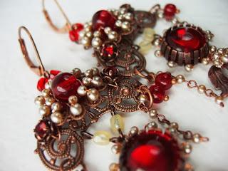 Punased kõrvarõngad vintage pärlid stiilis ehted mdmButiik Eesti