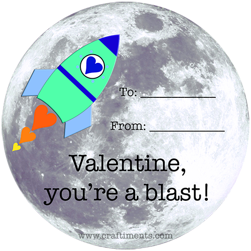 "Free printable ""You're a blast!"" rocket and moon valentine."