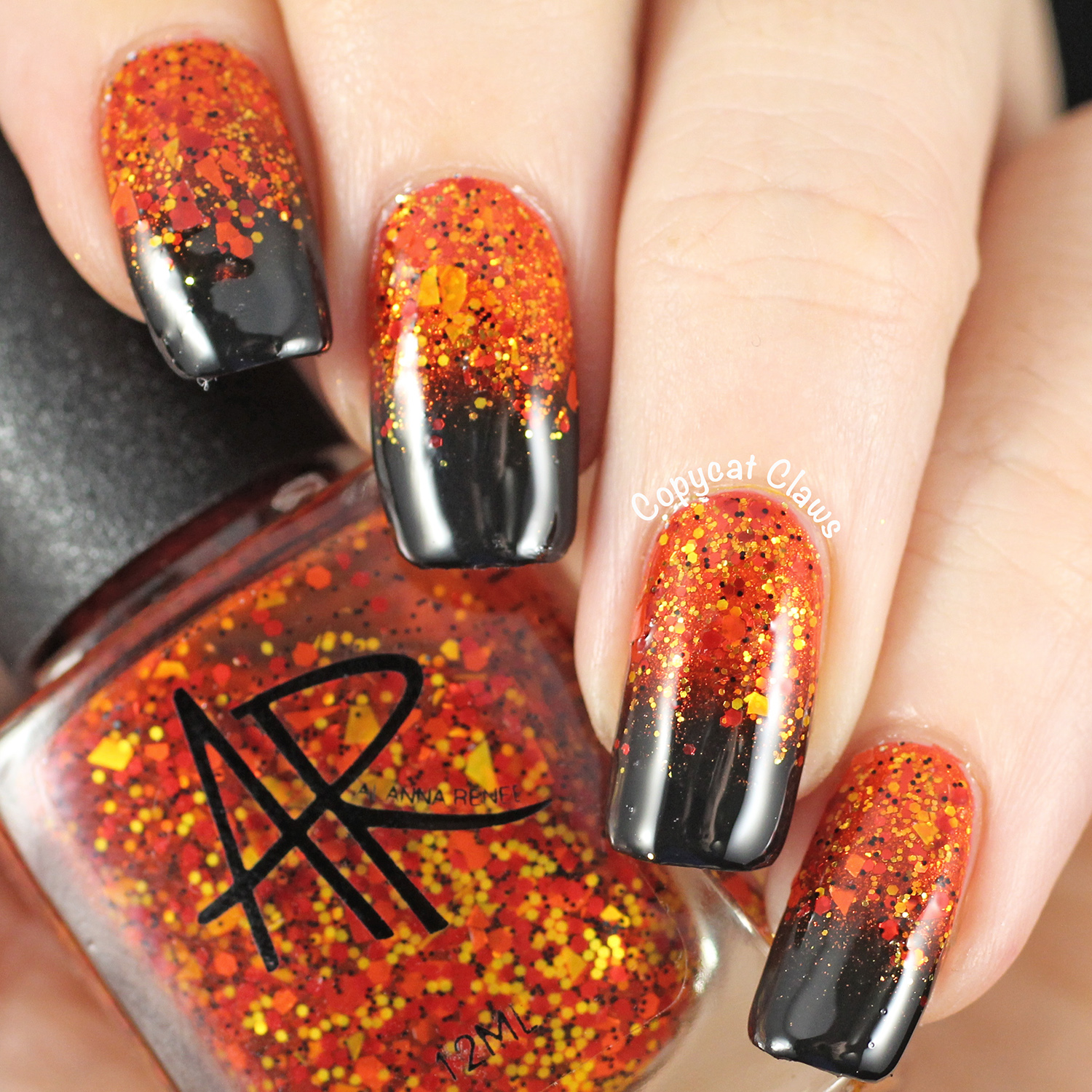 Since I Didn T Have A Full Coverage Orange Glitter Started With Base Of China Glaze Riveting An Strong Gold Shimmer