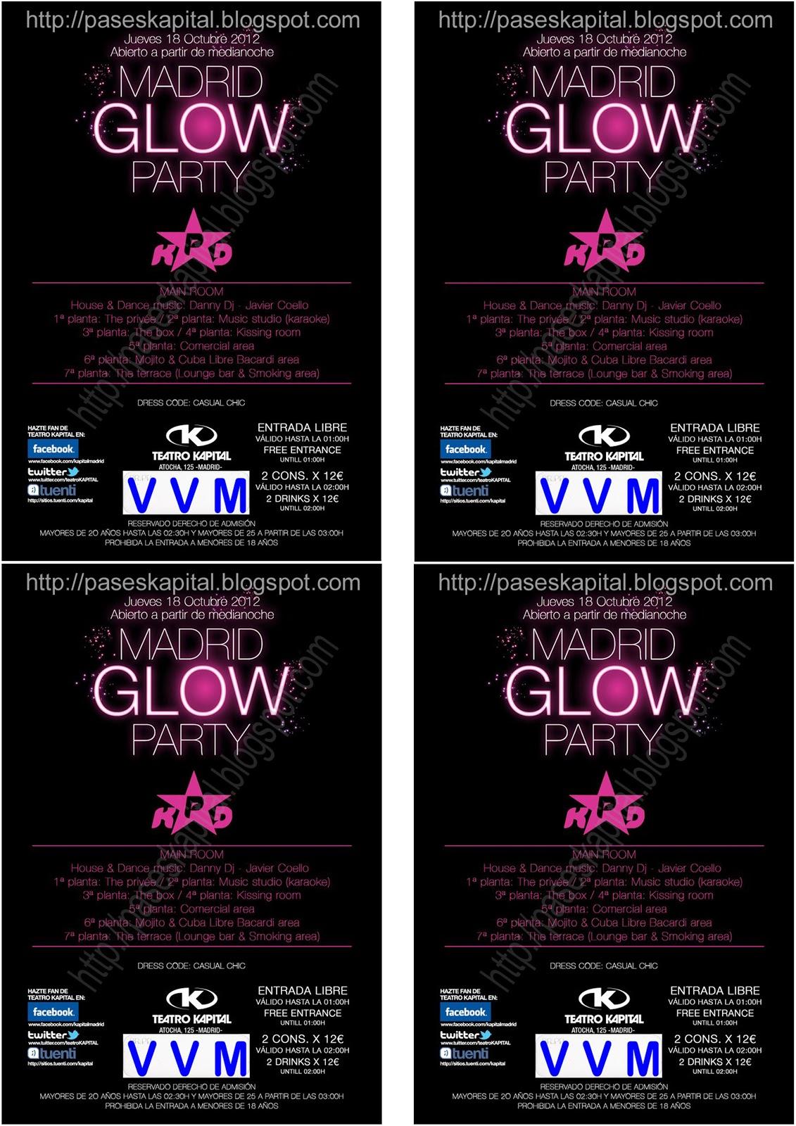 Flyers kapital jueves 18 de octubre madrid glow party for Kapital jueves gratis