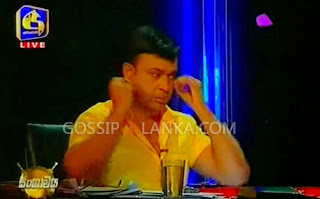 Ranjan Ramanayake hides his gold on Sangramaya TV Political Program