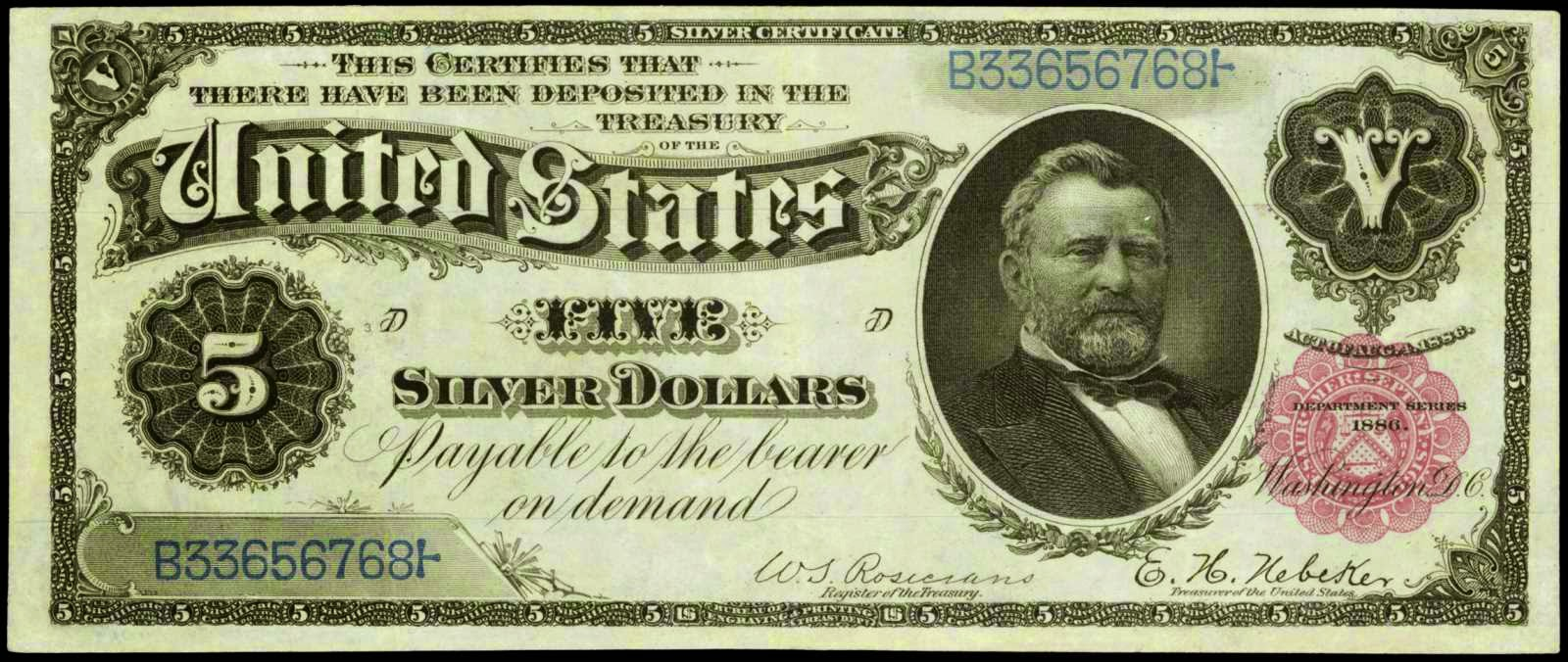 1886 five dollar silver certificate morgan backworld banknotes 1886 5 dollar silver certificate bill grant xflitez Gallery