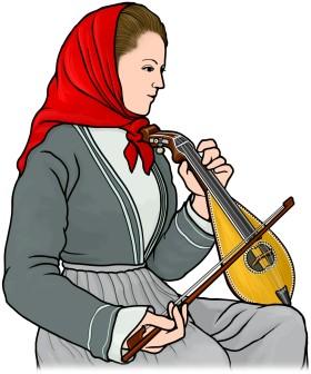 クレタンリラをひく女性のイラスト