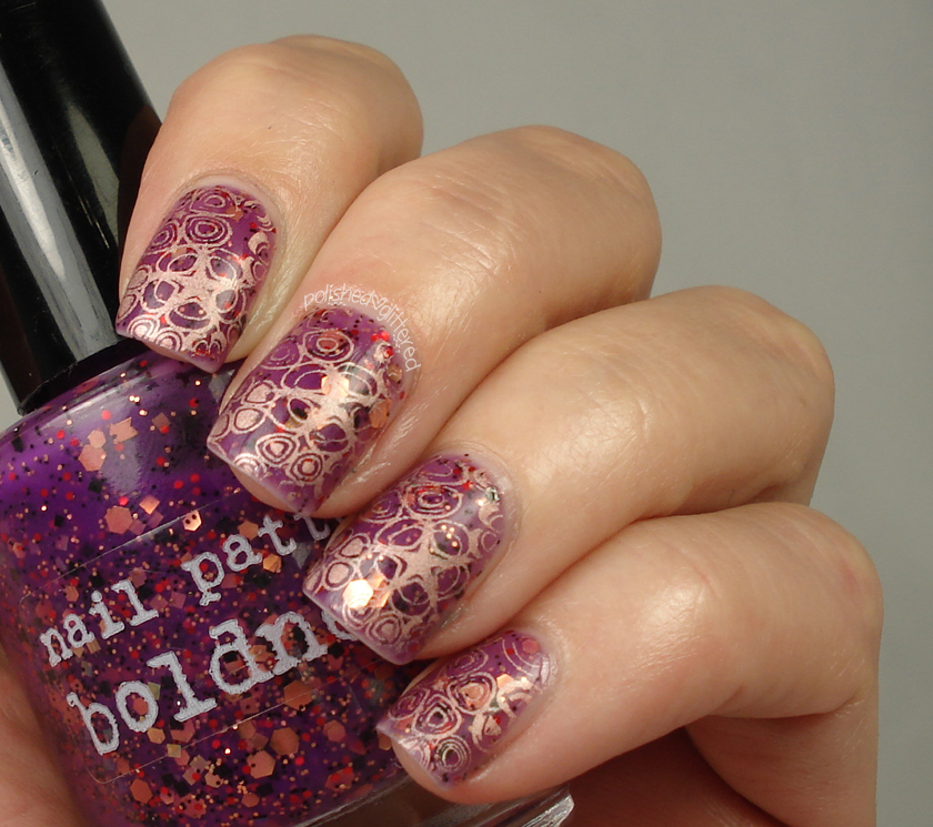 Nail Pattern Boldness Hello Sweetie and Stamping With Pueen SE04B