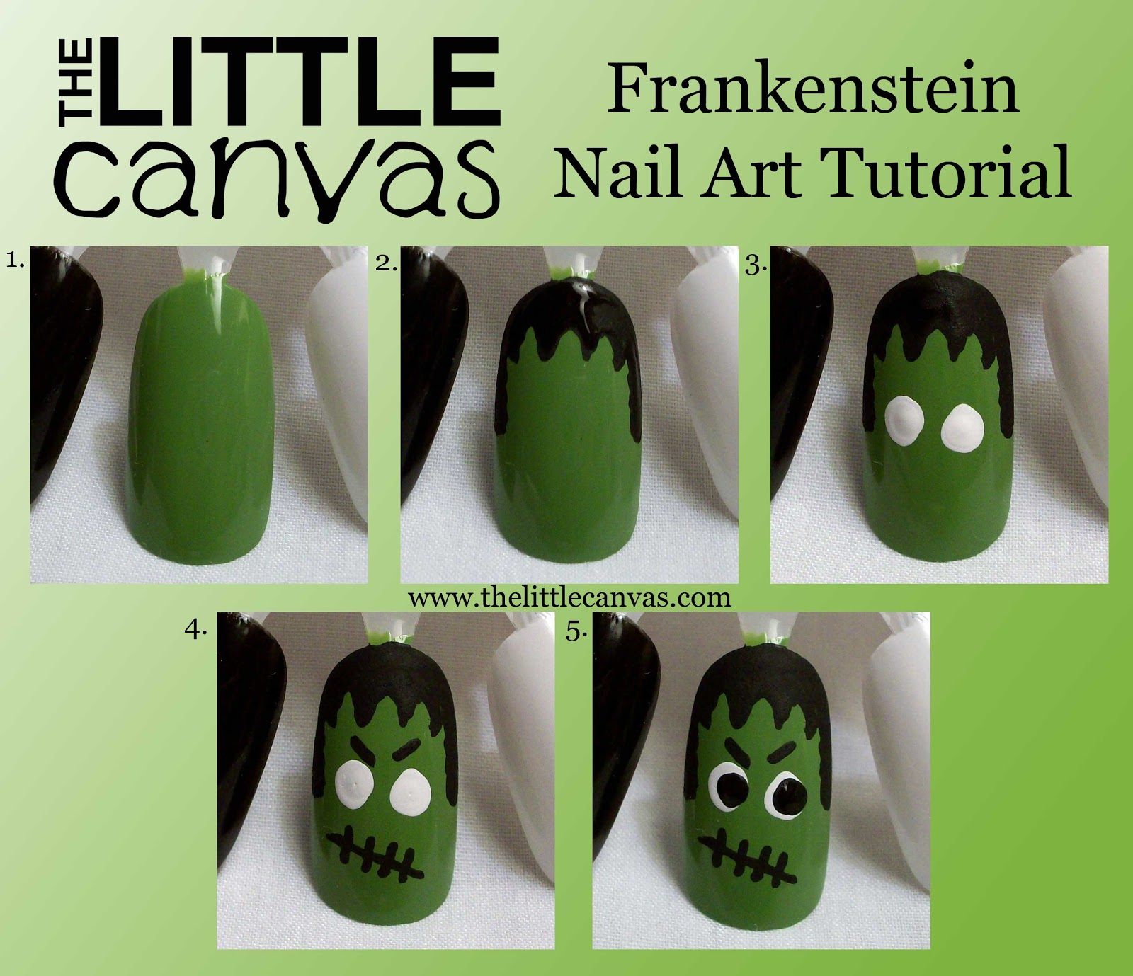 Frankenstein and His Bride - Nail Art Tutorial - The Little Canvas