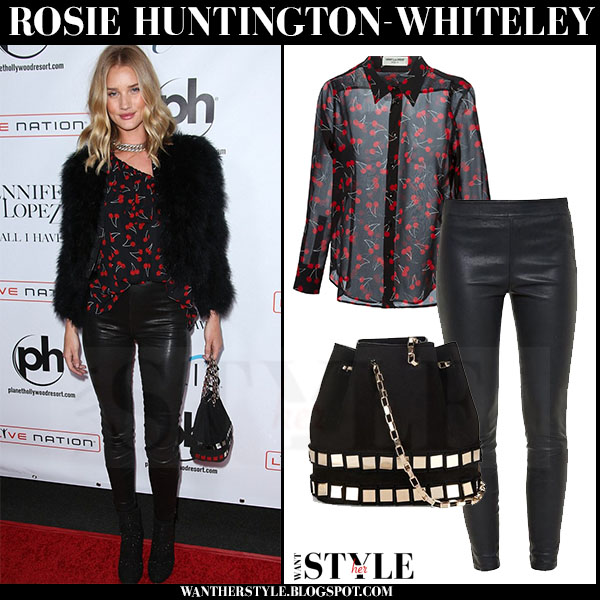 Rosie Huntington-Whiteley in cherry print saint laurent blouse and black leather paige denim molly pants red carpet what she wore