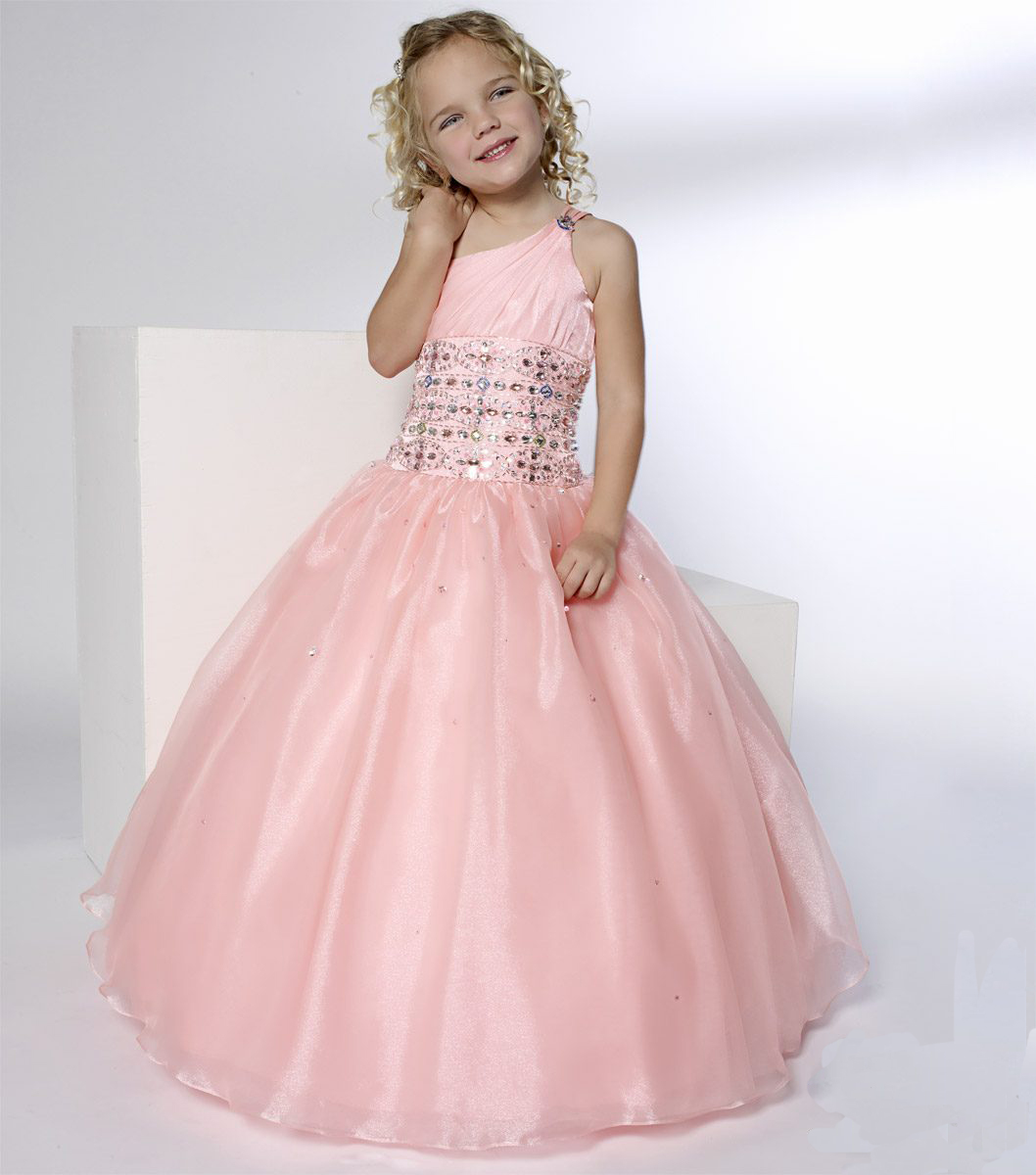 long pink cute junior bridesmaid dress with colorful beaded accents on the waistband