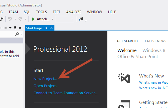 From Visual Studio 2012 Professional Click On New Project Or The Menu Select File