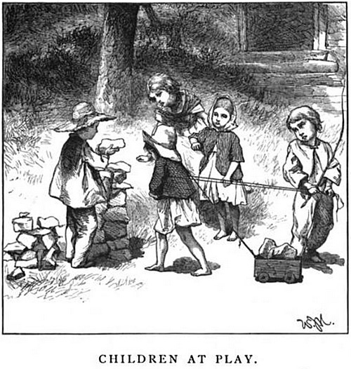 """Children at Play,"" drawn by W. J. Hennessy from the new illustrated edition of ""Maud Miller"" by John G. Whittier"