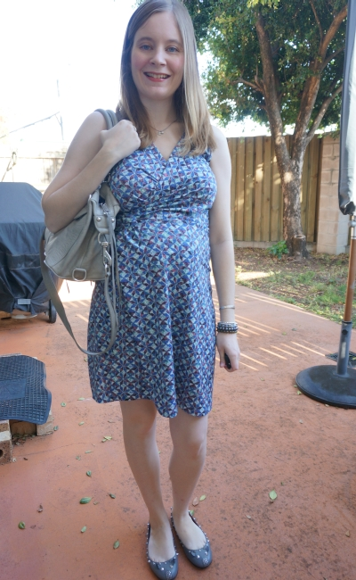 Away From Blue | Second Trimester Office Wear printed faux wrap dress grey bag