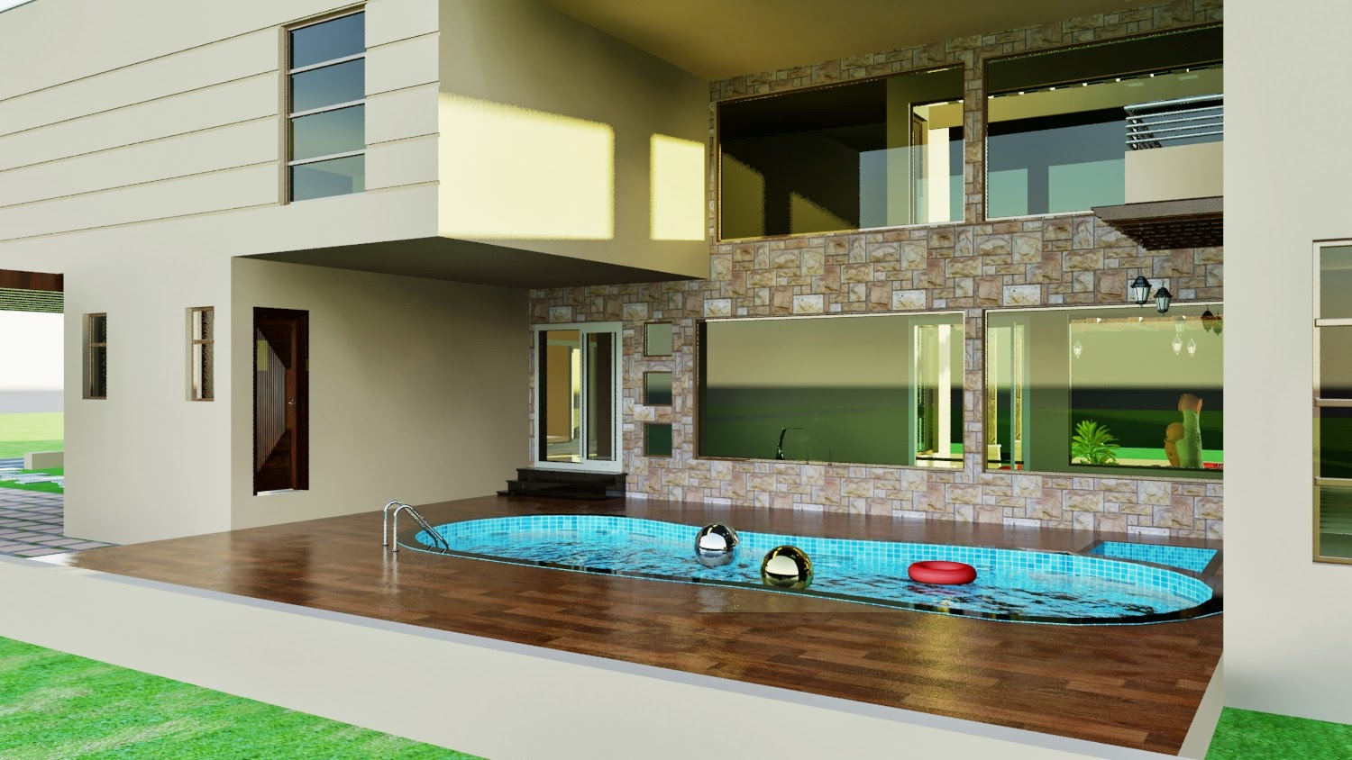 3d Front Dha Karachi Vii 3d Front Elevation Swimming Pool Landscaping