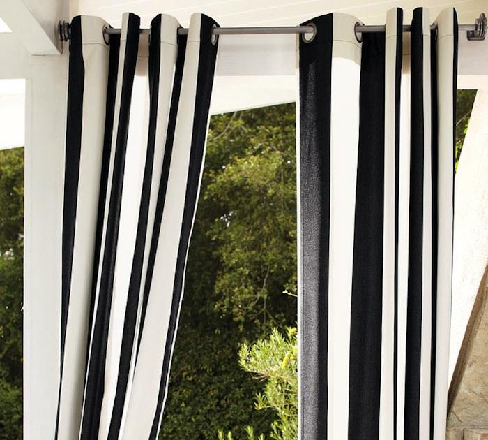 Black And White Striped Window Curtains Black and White Striped Night