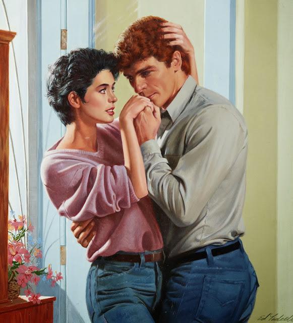 ed tadiello, cute painting, 80s couple