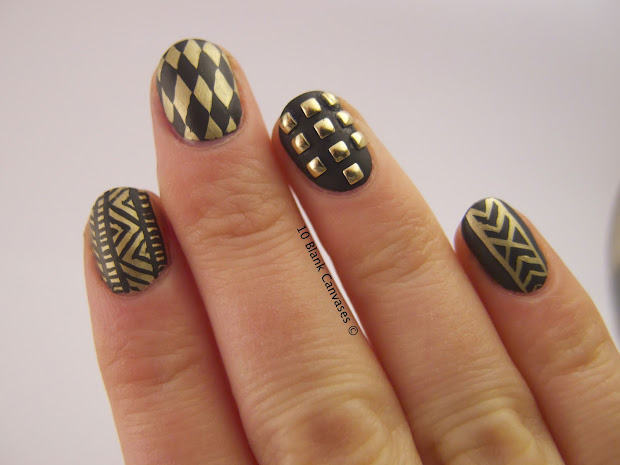 black and gold matte nails 10