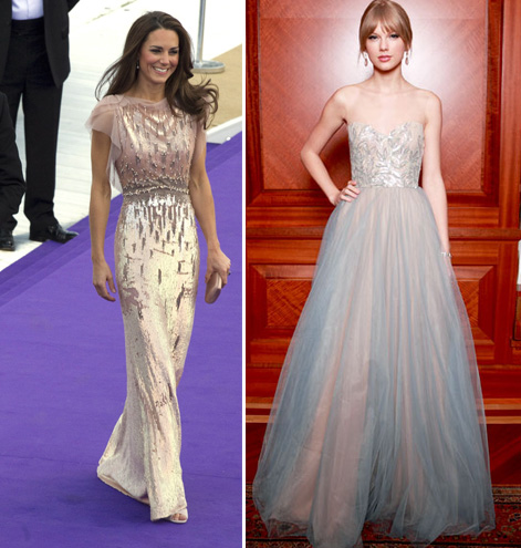 The Duchess of Cambridge in Jenny Packham & Taylor Swift in Reem Acra