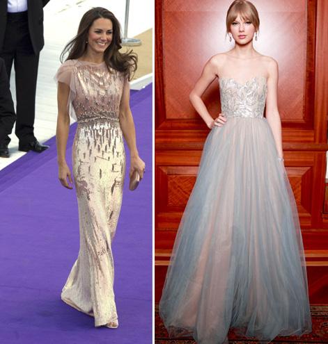 The Duchess of Cambridge in Jenny Packham & Taylor Swift in Reem Acra