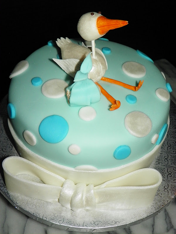 plumeria cake studio stork with baby boy shower cake