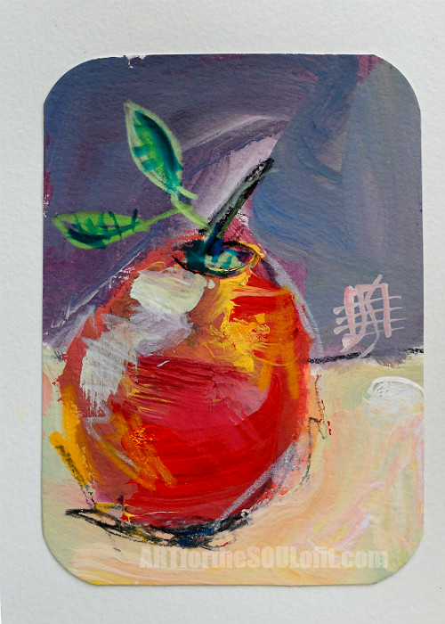 small apple painting acrylic on paper #2