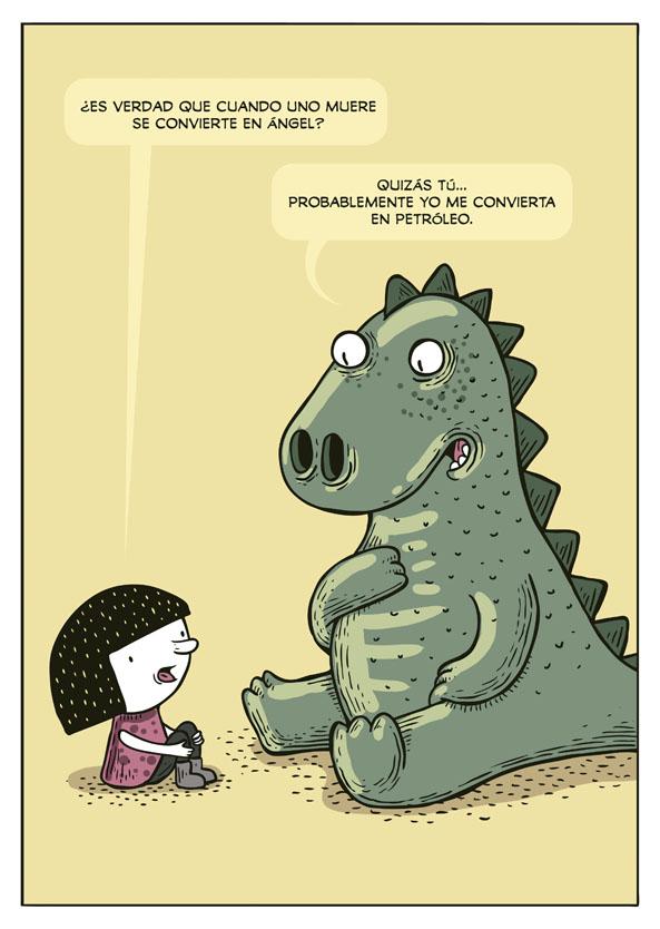 De laura la hija de montt y un dinosaurio verde