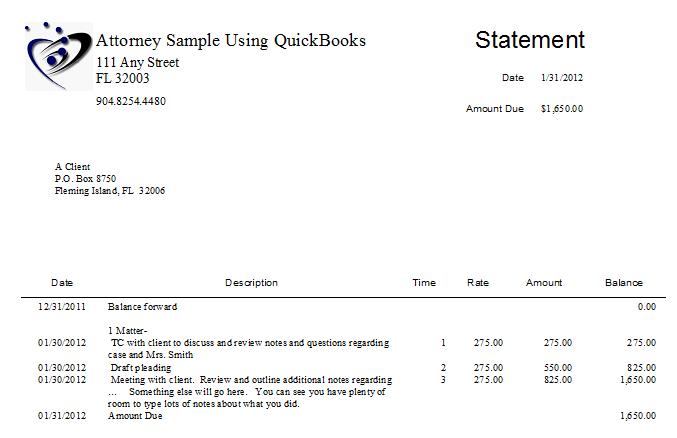 Lynette Benton: Law Firm Sample Statement from QuickBooks