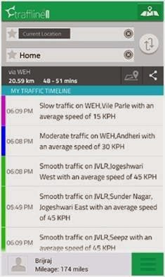 Screenshot of traffline app with estimated time