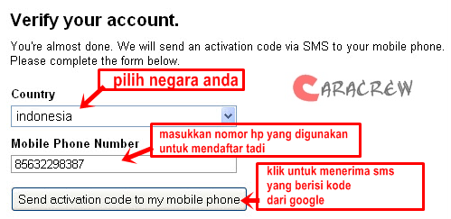 gmail sms code verification