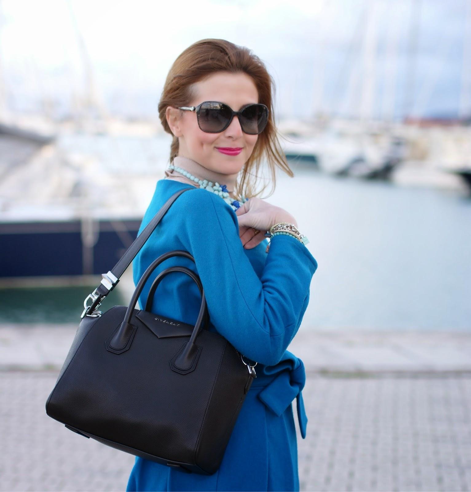 Givenchy Antigona bag, Sapphire blue coat, Fashion and Cookies, fashion blogger
