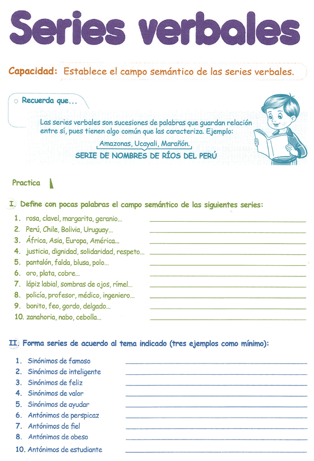 Razonamiento Verbal para ni�os 4� Grado Primaria | Razonamiento Verbal