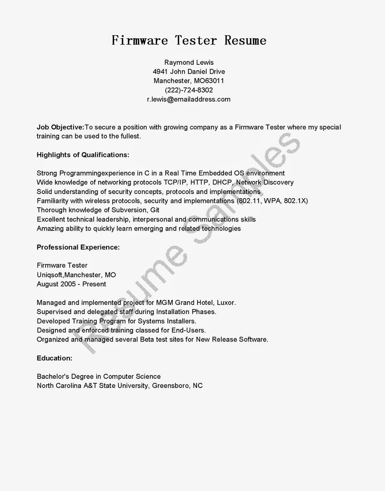 Resume Samples: Firmware Tester Resume Sample