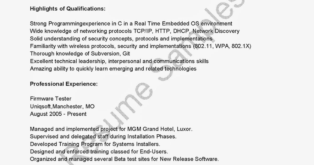 resume samples firmware tester resume sample