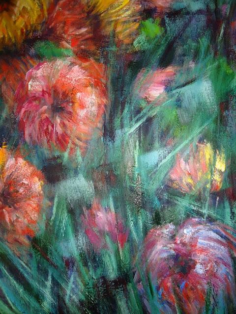flores al oleo con pincelada