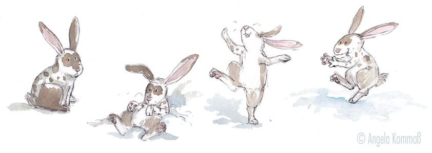 Kinderbuchillustration, Aquarell, Hasen, Schnee, children's book illustration, bunny, snow