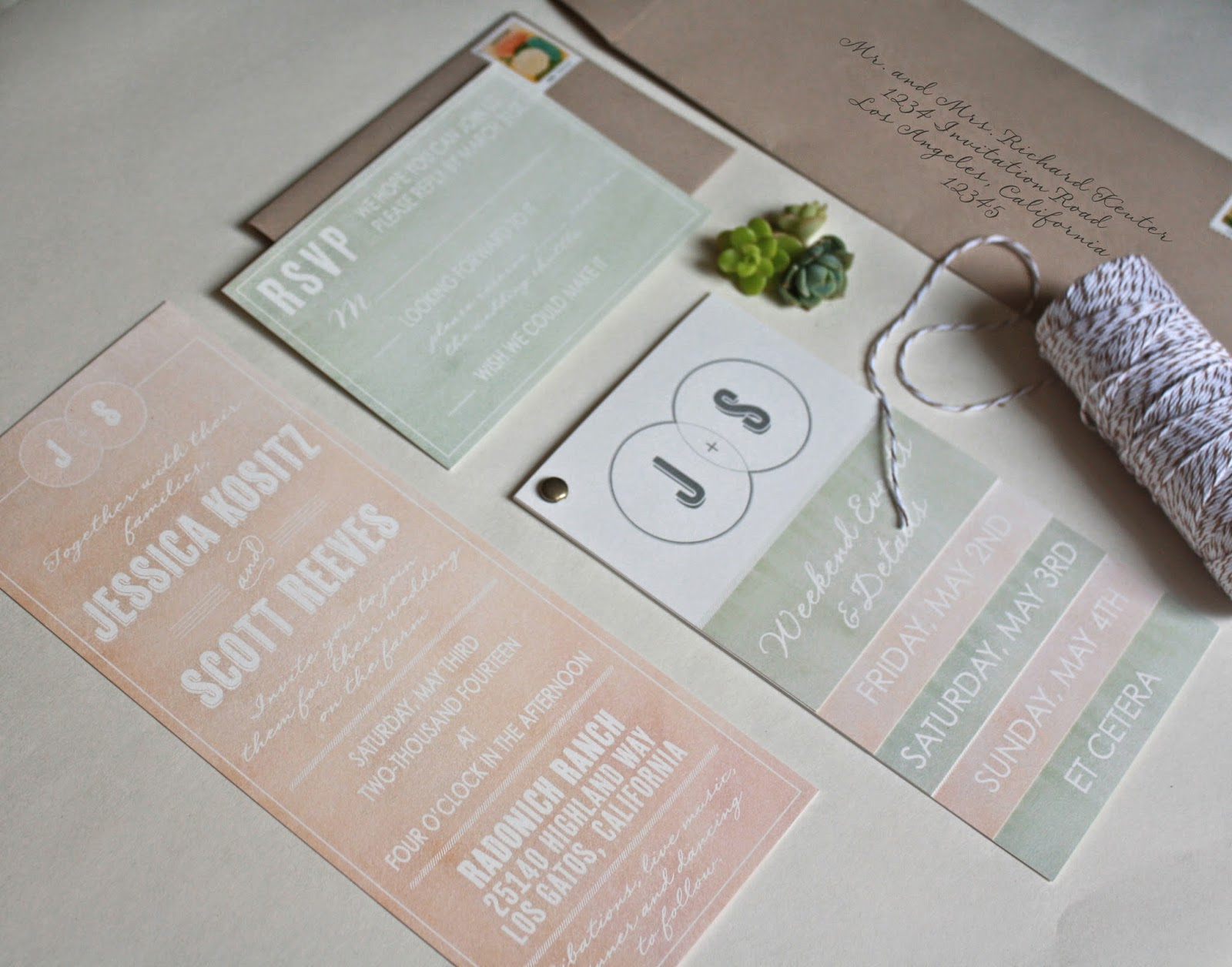 ERICA KEUTER DESIGNS: NORTHERN CALIFORNIA RANCH WEDDING INVITATIONS