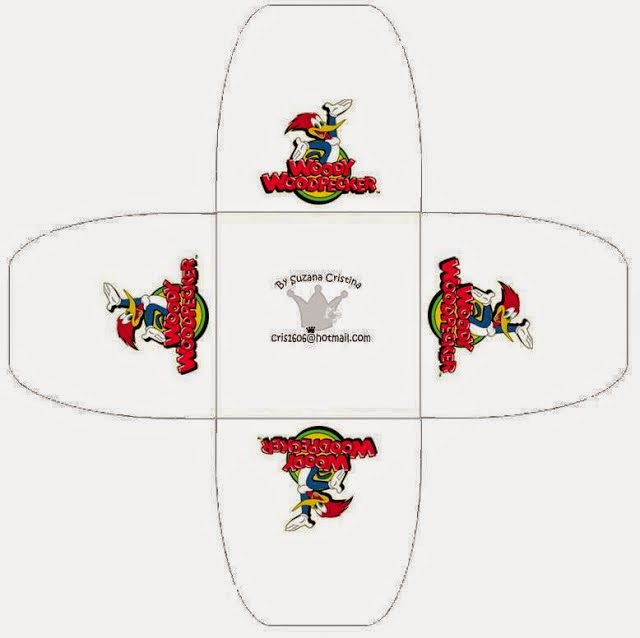 Woody Woodpecker: Free Printable Open Boxes.