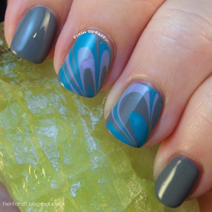 Water Marble Decal technique for Tri-Polish Tuesday grey, teal, and lilac using Barry M Gelly polishes.