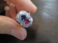 467:中古 ルビー&サファイア ダイヤモンド取り巻きリング PT900