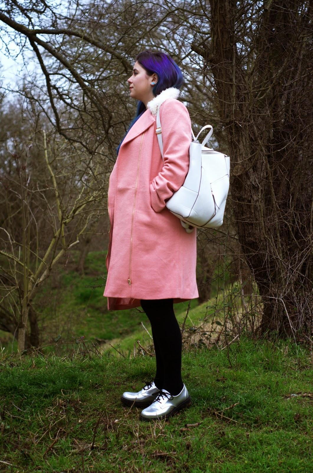 Shearling Pink Biker Coat Grunge OOTD